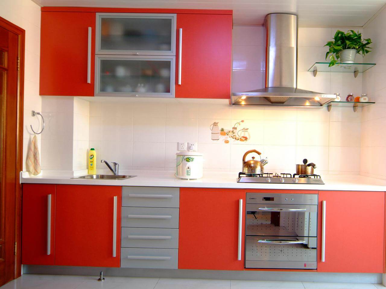 Red Kitchen Cabinets Photo