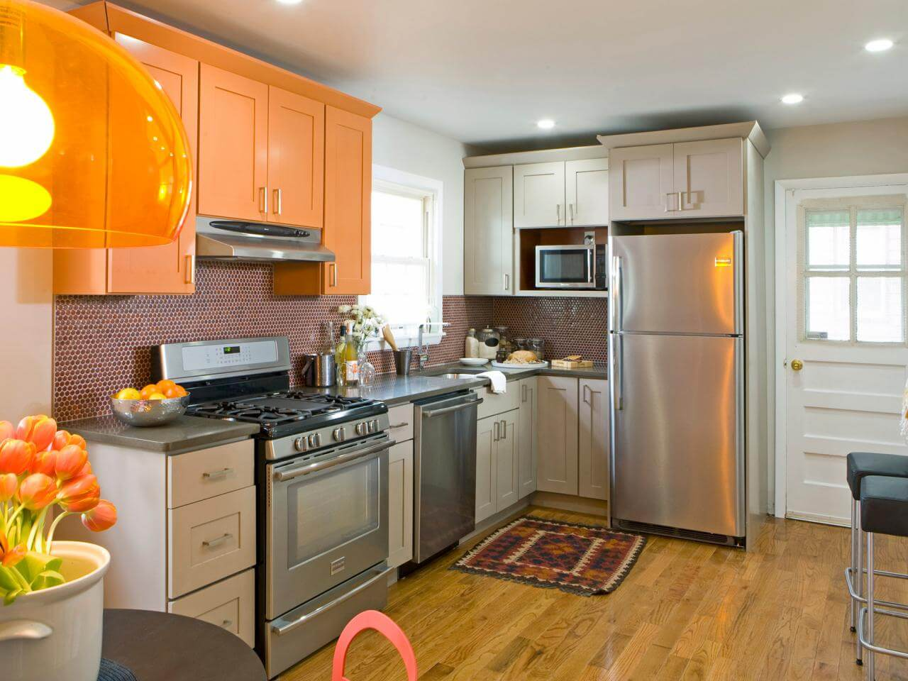Orange and Gray Eclectic Kitchen