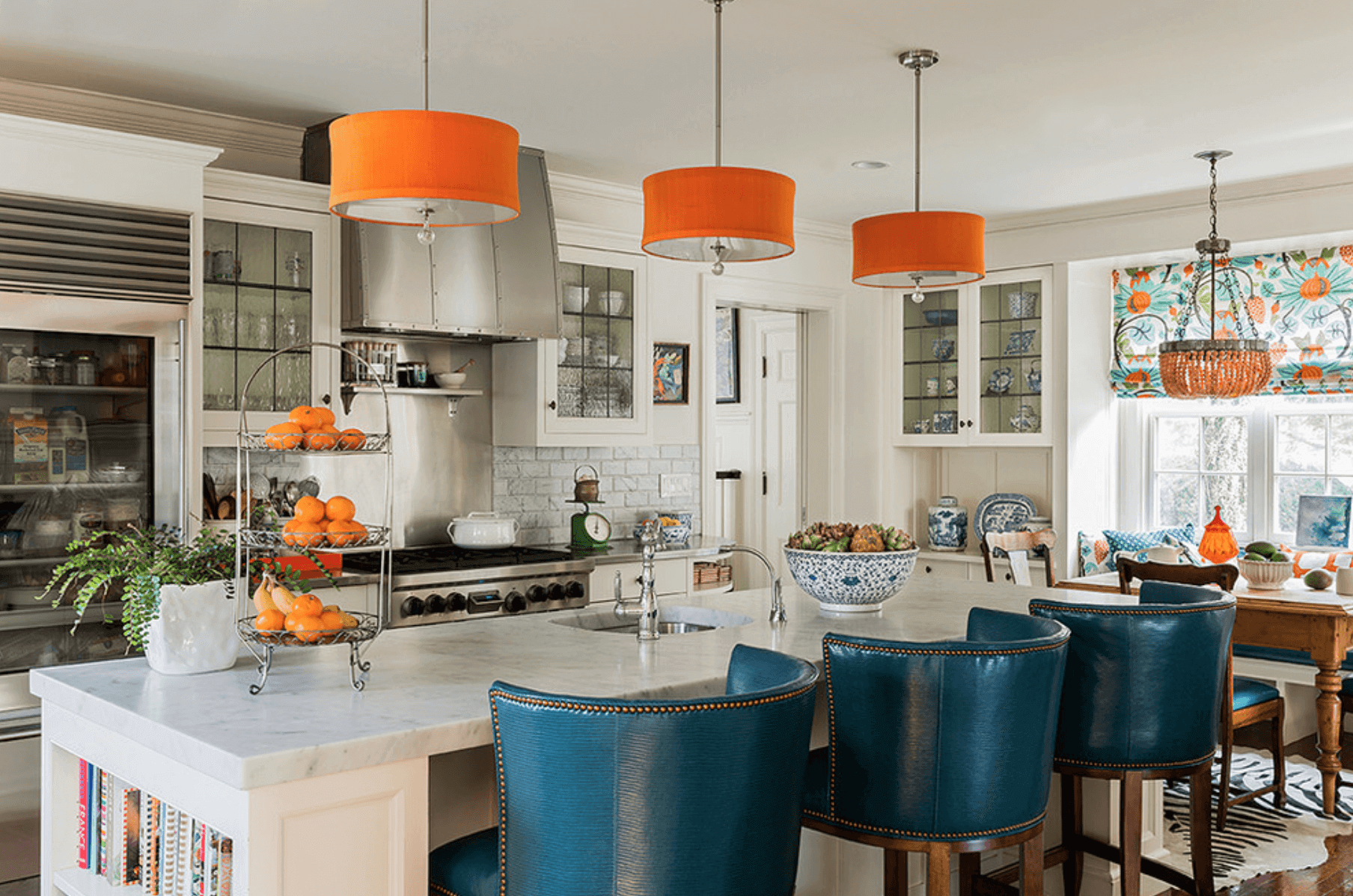 Orange And Also Blue Accented Kitchen