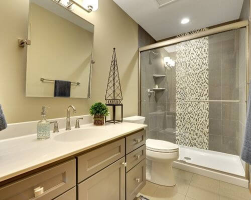 bathroom designs using glass tile