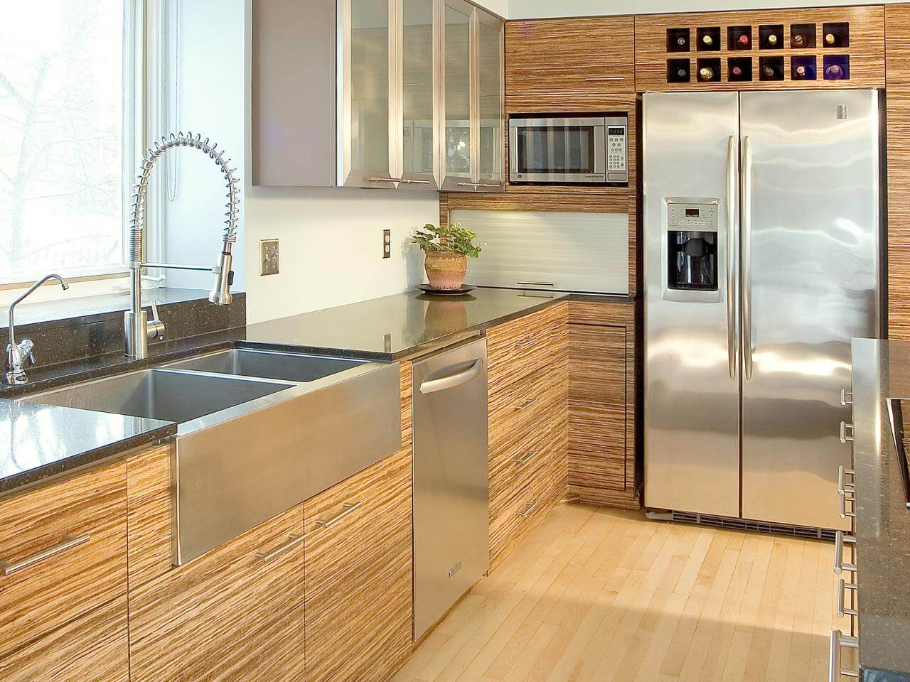 Contemporary Kitchen With Bamboo Cabinetry