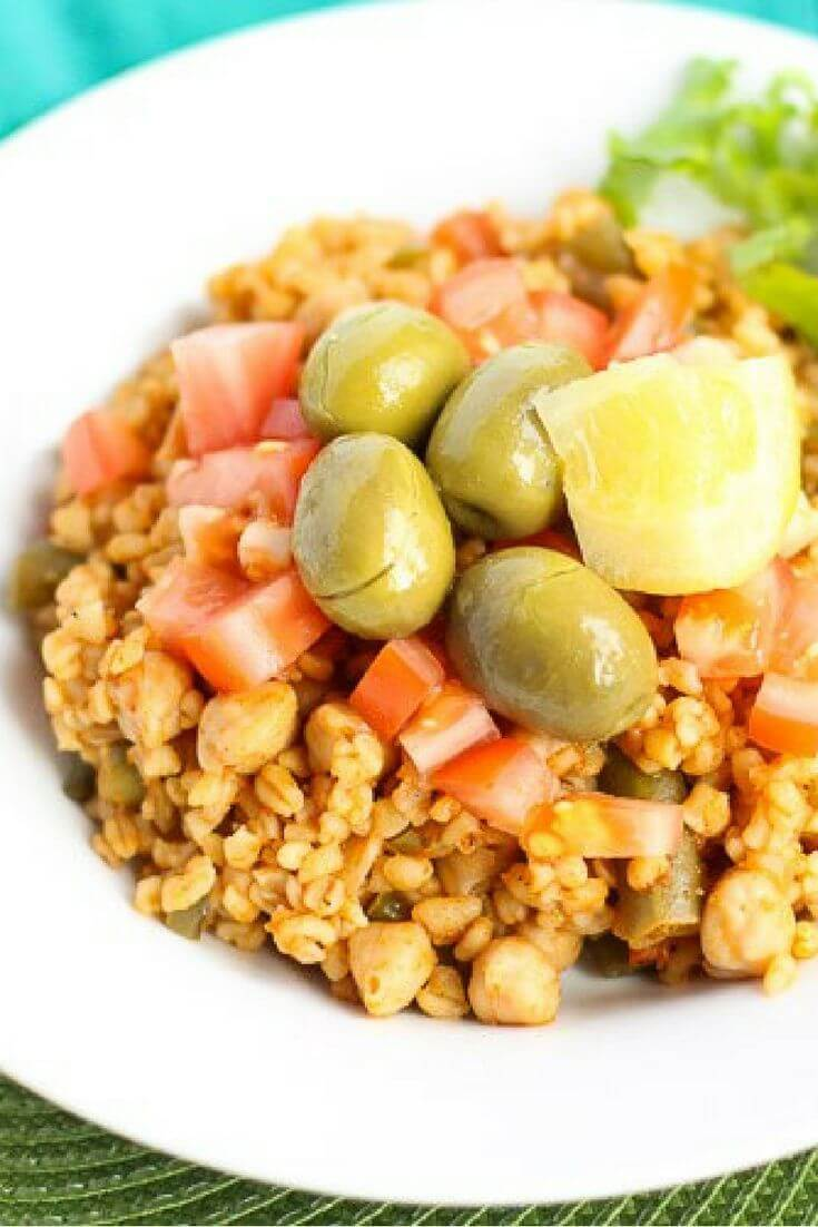 Bulgur Pilaf with Garbanzos as well as Dried Apricots