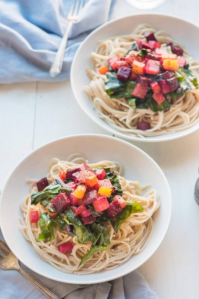 Spaghetti with Beets and also Greens