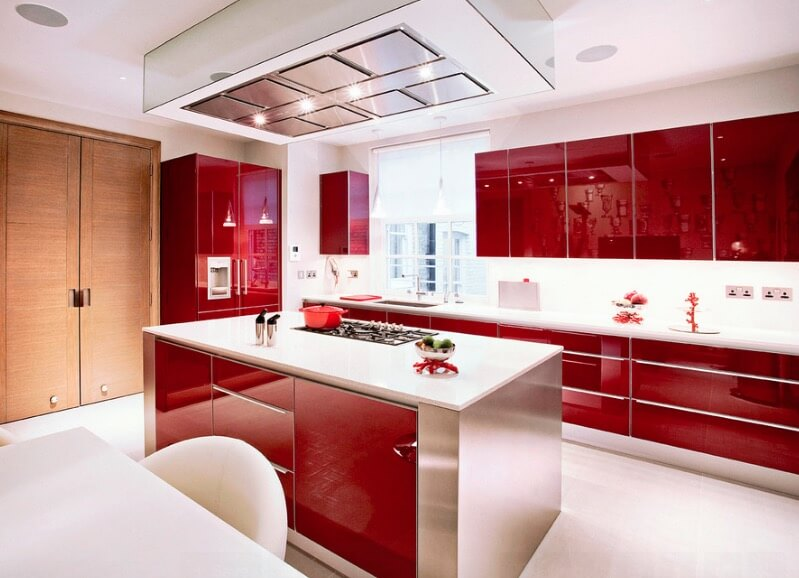 High Gloss Kitchen Area Cupboards