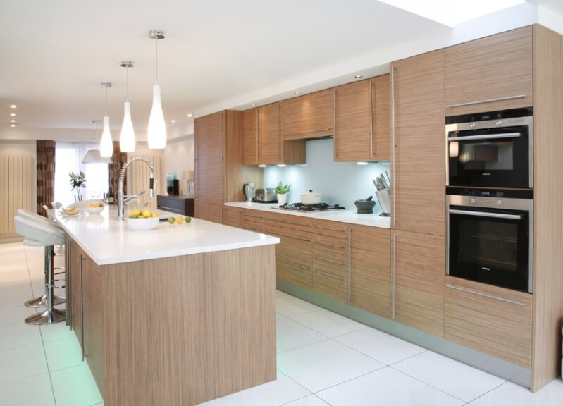 Whitewashed Wood Cooking Area Cabinets