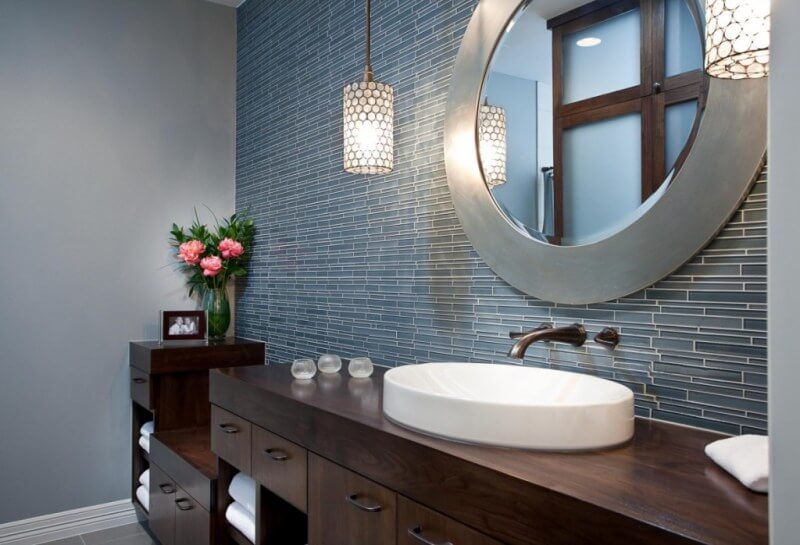 bathroom mirror trim ideas