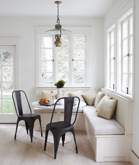 corner breakfast nook with round table ideas
